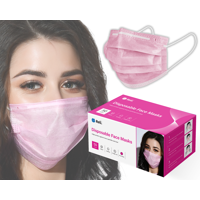 Reli. Pink Face Masks (50 Masks) Disposable Pink Mask - 3-PLY Protection with Filter Layer - Breathable, Elastic Ear Loop Mask - Face Protection, 50 Pack Pcs (Pink)
