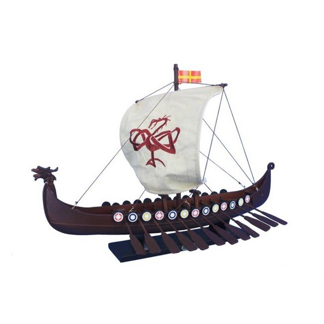 Handcrafted Decor viking-24-serpent Wooden Viking Drakkar with Embroidered Serpent Model Boat Limited, 24 in. by Handcrafted Decor