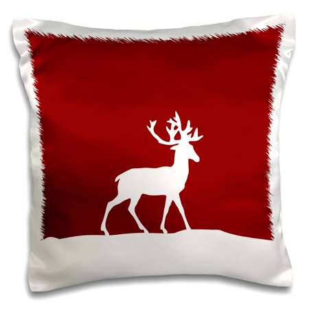 3dRose Red reindeer in the snow - stylish white deer with antlers silhouette - Wintery Christmas Xmas gift, Pillow Case, 16 by (Silhouetted Against Snow)