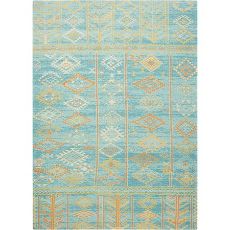- Nourison Madera Tribal Sky Blue Area Rug