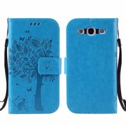 Galaxy S3 S III Case, Samsung Galaxy S3 Phone Cases, Allytech [Embossed Cat & Tree] PU Leather Wallet Case Folio Flip Kickstand Cover with Card Slots for Samsung Galaxy S3 III I9300, Blue