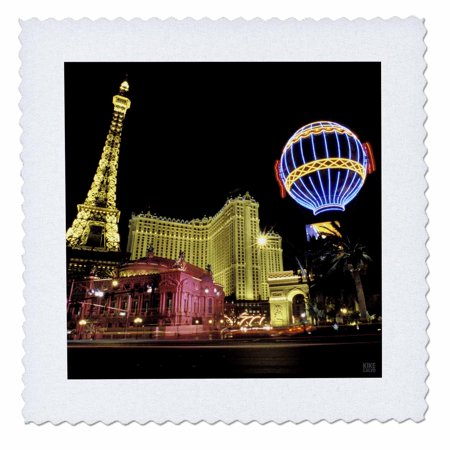 3dRose Paris Hotel and Casin at Las Vegas Strip United States - Quilt Square, 10 by (Square Town Las Vegas)