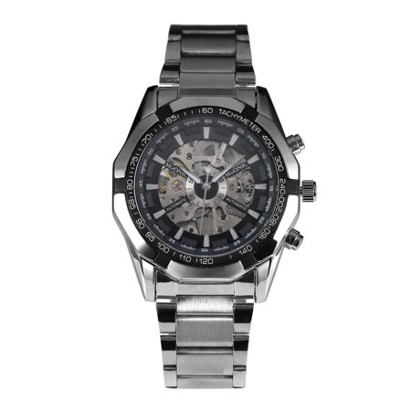 Steampunk Watch Cases (Skeleton Mechanical Automatic Mens Watch Silver Case Stainless Steel Steampunk )
