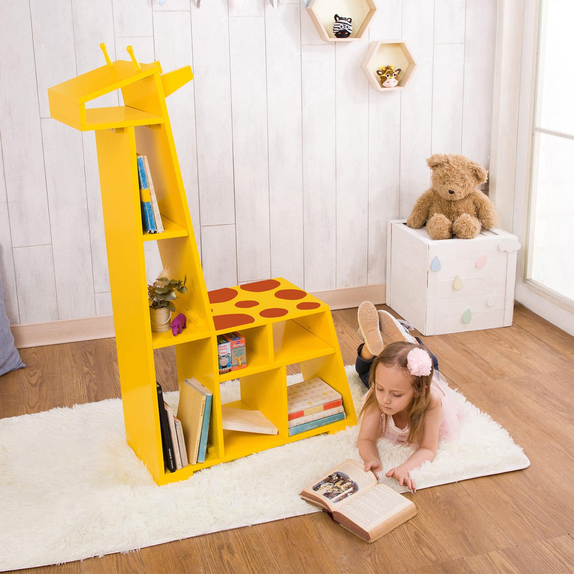 Teamson Kids Bookshelf, Zoo Kingdom Giraffe, Yellow and Orange