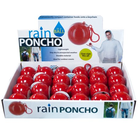 Rain Poncho in a Ball Countertop Display (Available in a pack of 24)