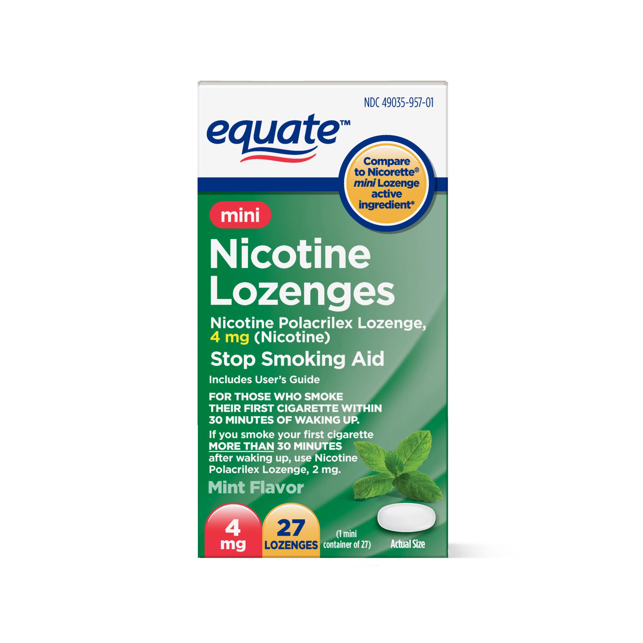 Equate Mini Nicotine Lozenge Stop Smoking Aid, Mint Flavor, 4 mg, 27 Ct