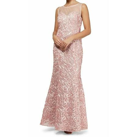SLNY Blush Womens Mesh Insert Soutache Mermaid Gown ()