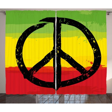 Rasta Curtains 2 Panels Set, Grunge Style Watercolor Design African Flag Colors Hippie Peace Sign, Window Drapes for Living Room Bedroom, 108W X 108L Inches, Black Green Yellow and Red, by