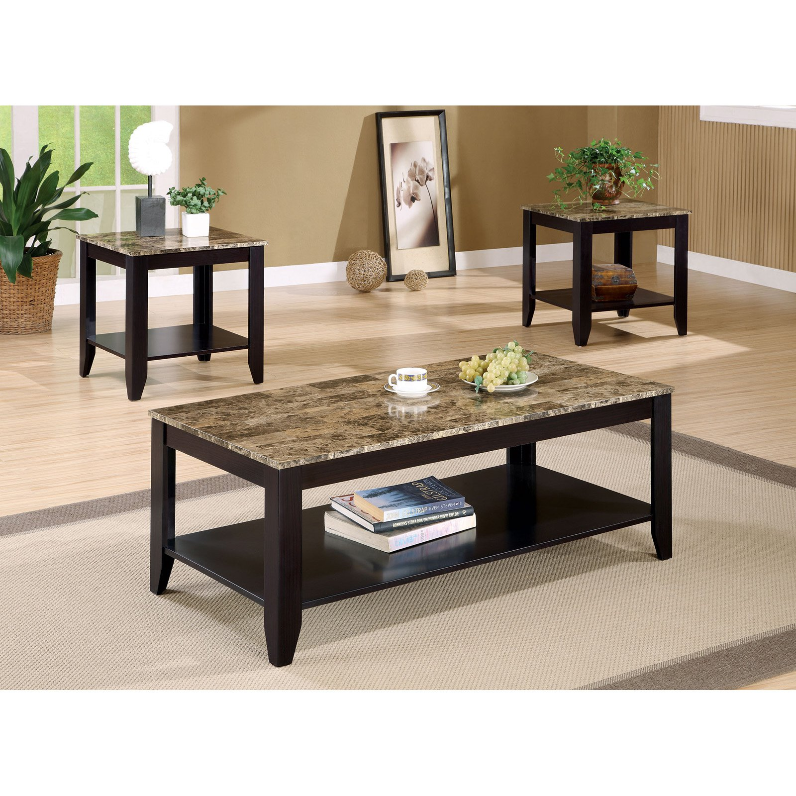 Coaster Furniture 3 Piece Coffee Table Set with Faux Marble Top