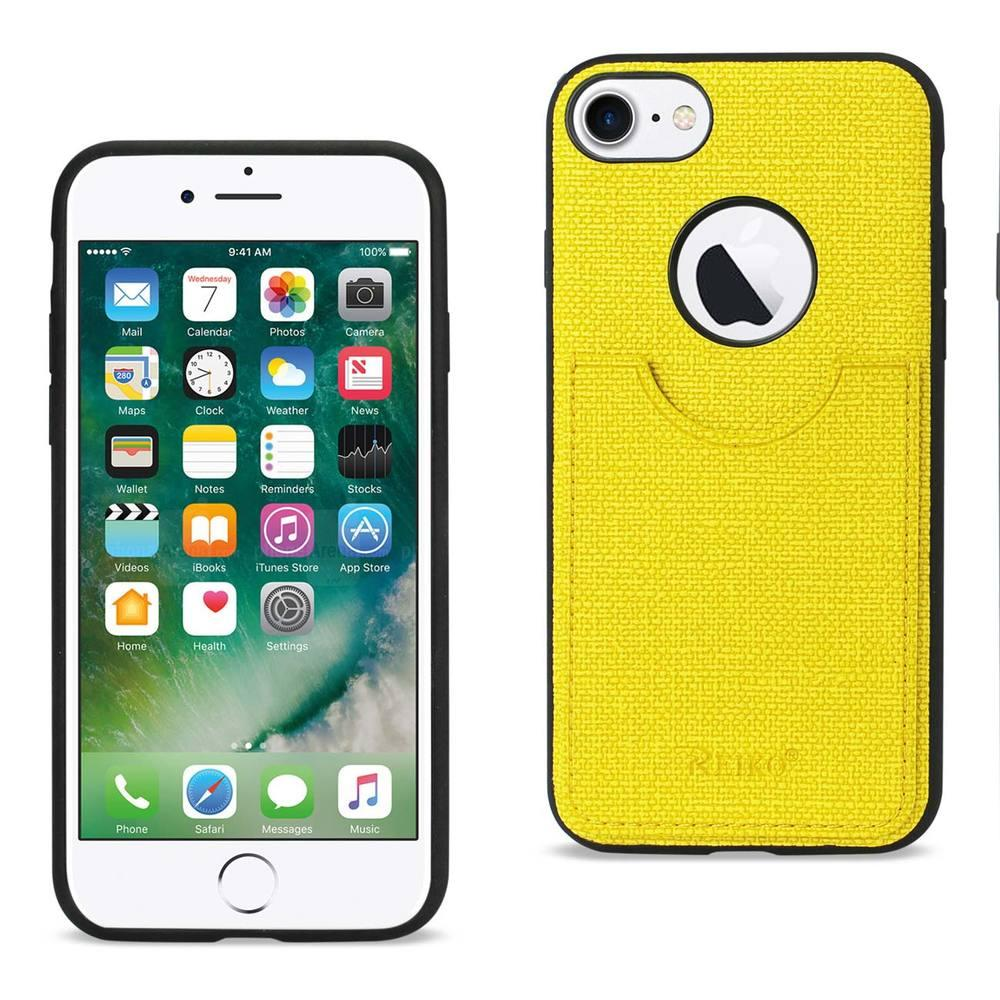 Reiko REIKO IPHONE 7 ANTI-SLIP TEXTURE PROTECTOR COVER WITH CARD SLOT IN YELLOW