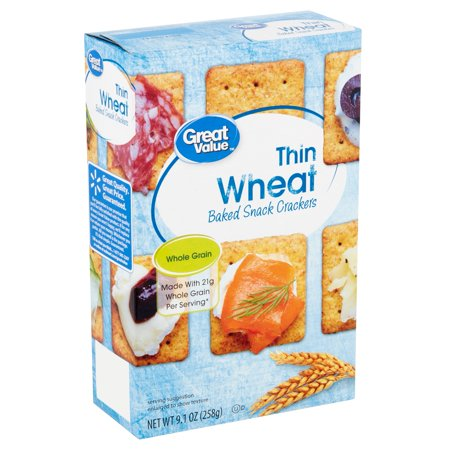 Great Value Thin Wheat Baked Snack Crackers, 9.1