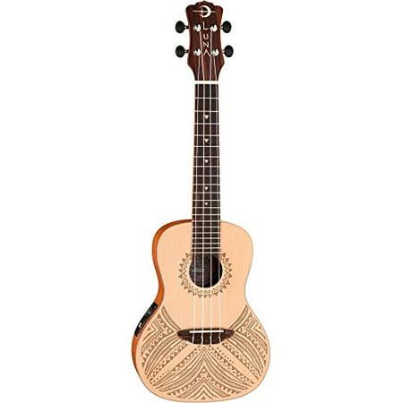 Luna Guitars UKE TAPA SPR Luna Uke Tapa Concert Solid Spruce w/ Preamp