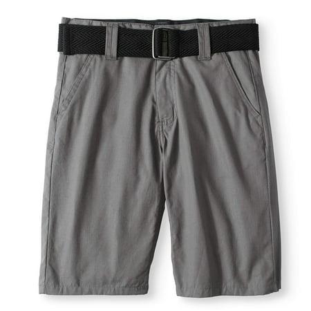 Big Boy Belted Fashion Flat Front Poplin Shorts
