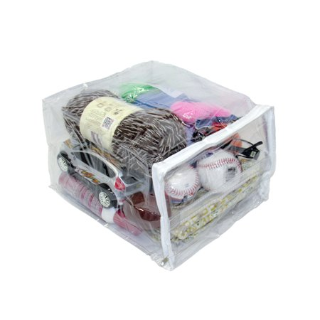 Heavy Duty Vinyl Zippered See-Through Storage Bags With Handle (Clear) (9