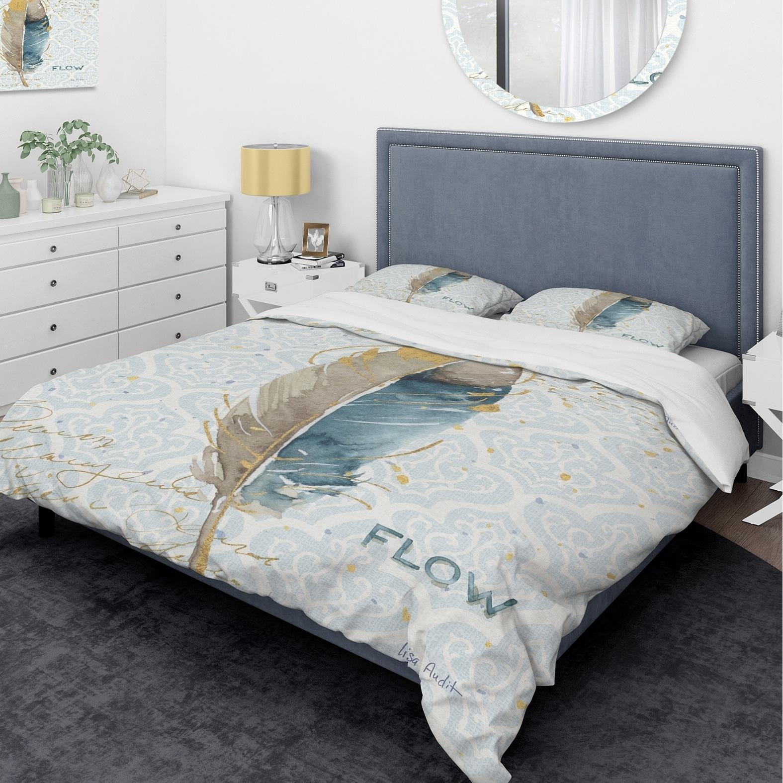 DESIGN ART Designart 'Fields of Gold Watercolor Flower IV' Glam Bedding Set - Duvet Cover & Shams
