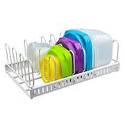 White Food Container Lid Organizer&Adjustable Metal Lid Holder Rack 6 Dividers Storage Container Lid organizer for Cabinets, Cupboards, Pantry Shelves, Drawers to Keep Kitchen Tidy