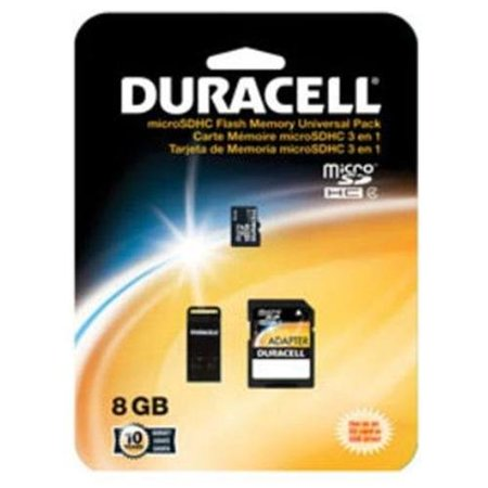 Duracell Du-3in1-08g-r MicroSD Card With Universal Adapter, (Camera 3g Microsd)