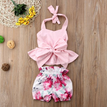 2Pcs Fashion Newborn Kids Baby Girl Bowknot Tops+Shorts Pants Outfit Clothes Set - Children Clothing Boutique