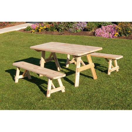 A & L Furniture Western Red Cedar Traditional Picnic Table with 2 Side Benches ()
