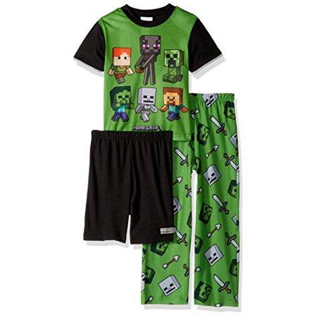 Minecraft Big Boys' 3-Piece Pajama Set, Gamer Green, - Minecraft Jacket