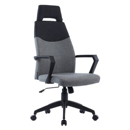 Fabric Armrests (Fabric Upholstered office Chair with Loop Armrests and Polygon Headrest, Gray and Black)