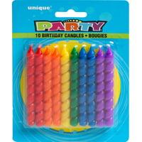 Spiral Birthday Candles, Rainbow, 10ct