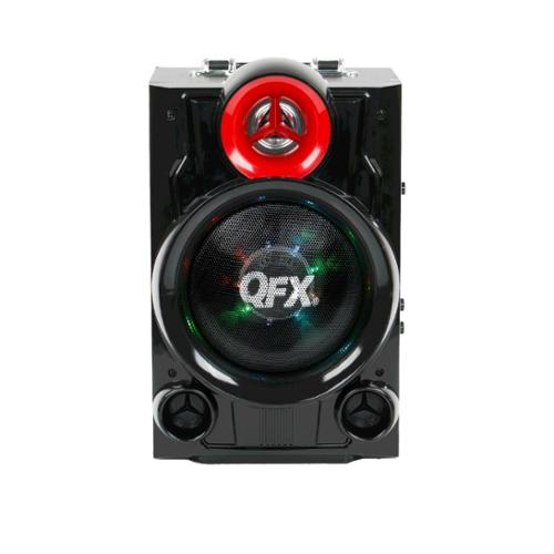 Qfx Pa Series Speaker System - Portable - Battery Rechargeable - Wireless Speaker[s] - Red, Black - Sd - Bluetooth - Usb - Built-in Battery, Rechargeable Battery, Fm Radio, Remote, Led (pbx9080)