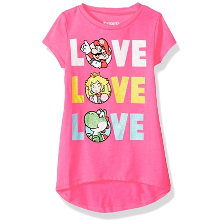 Nintendo Girls' Super Mario Princess Peach, Yoshi Triple Love in Glitter (MEDIUM 7/8) - Mario Brothers Princess Peach