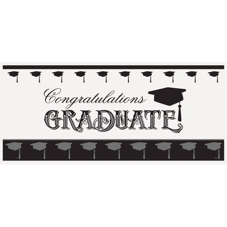 Plastic Classic Graduation Wall Banner, 5 x 2.25 ft, 1ct (Graduations Decorations)