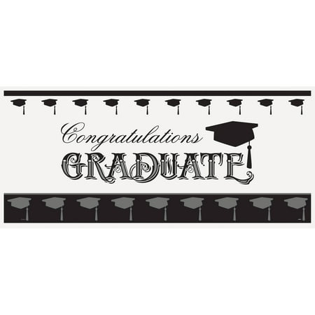 Plastic Classic Graduation Wall Banner, 5 x 2.25 ft, - Graduation Photo Banners