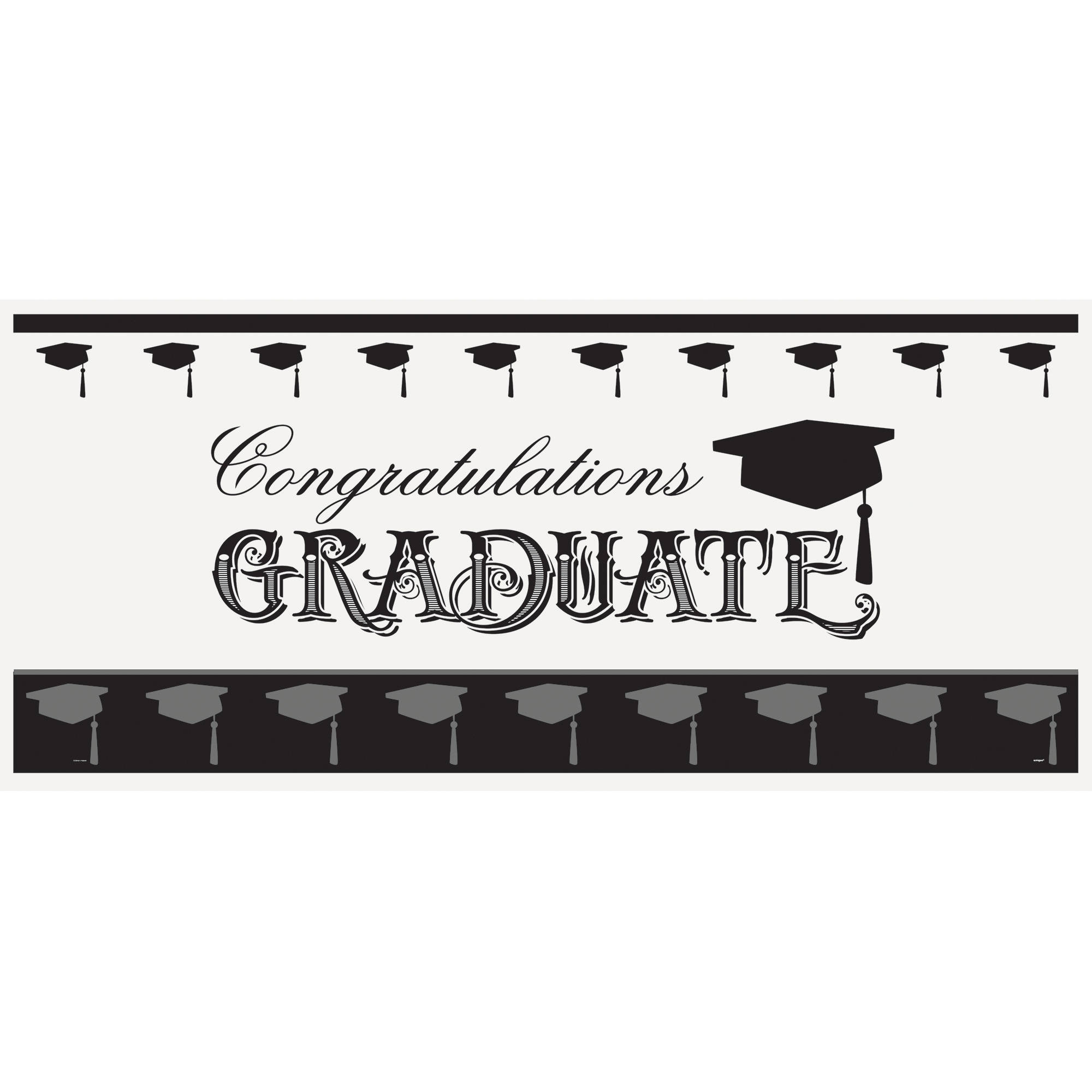 Plastic Classic Graduation Wall Banner, 5 x 2.25 ft, 1ct