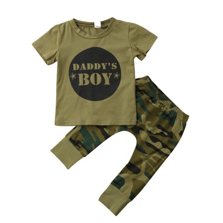2 Styles Baby Boy Girl Camouflage Short Sleeve T-Shirt Tops+Green Long Pants Outfit Casual Outfit thumbnail