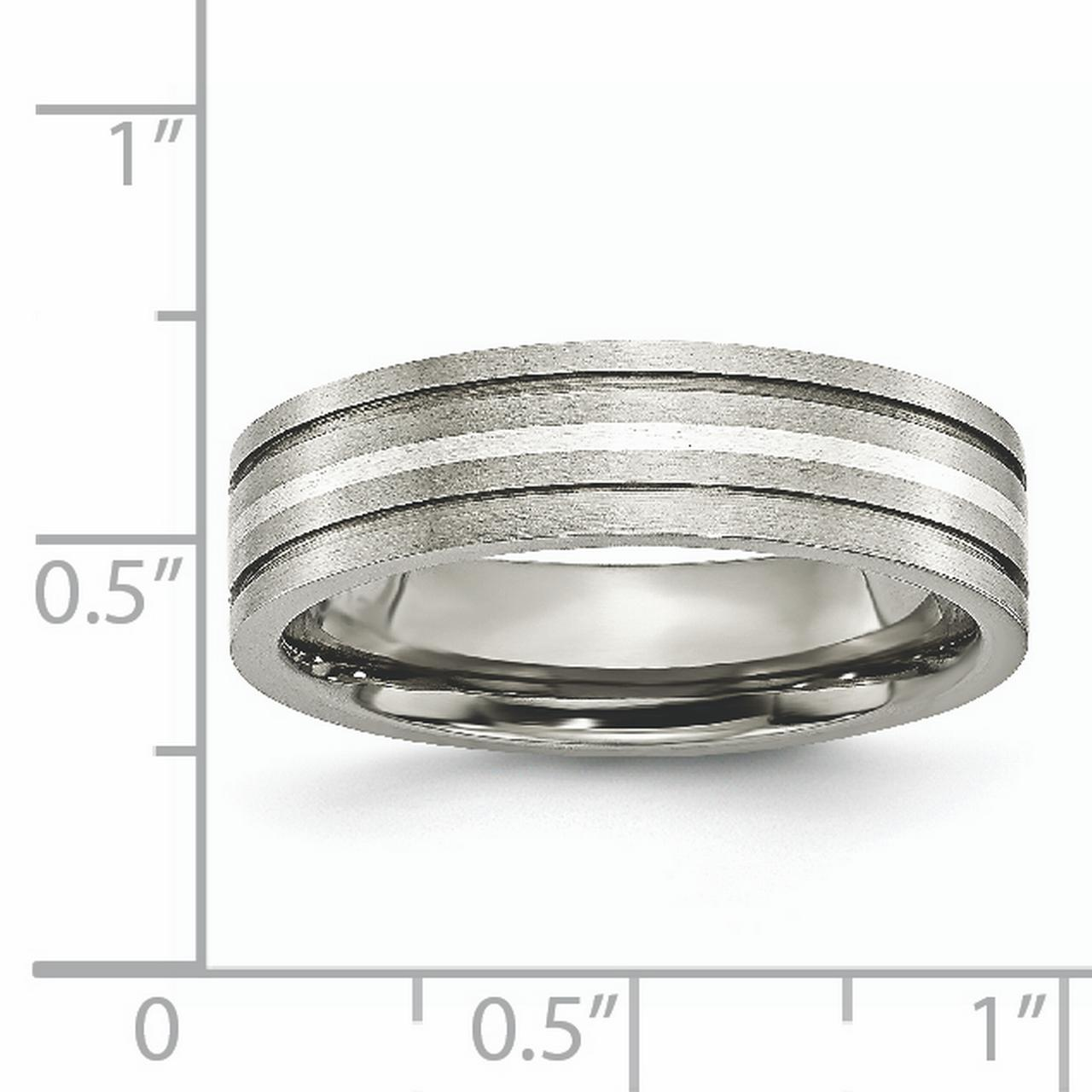 Titanium Grooved 925 Sterling Silver Inlay 6mm Brushed Wedding Ring Band Size 6.00 Precious Metal Fine Jewelry Gifts For Women For Her - image 2 de 10