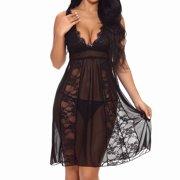 Akoyovwerve Sexy Women Babydoll Lace Lingerie See-through Underwear Sleepwear+G-string,Black