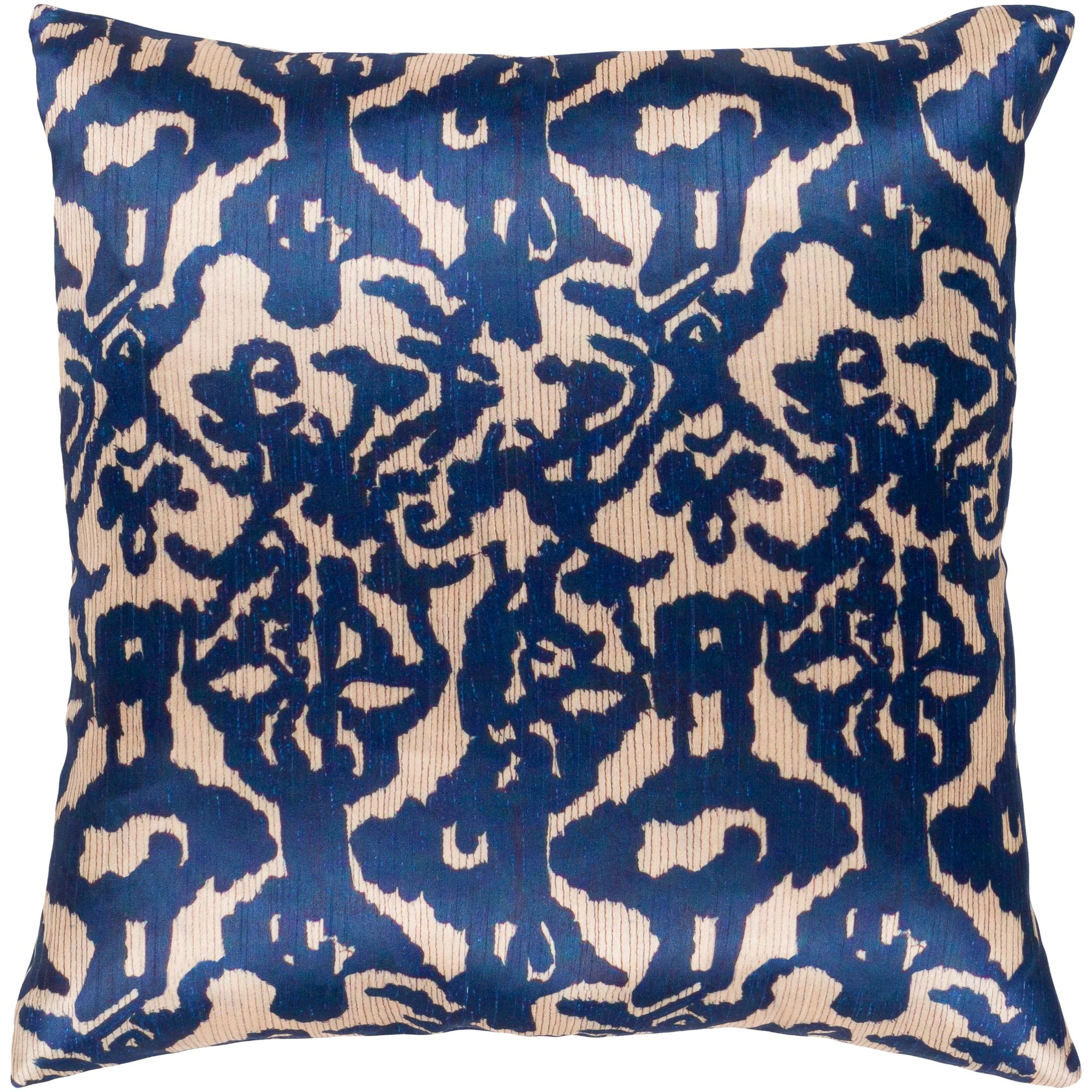 20 Navy Blue And Brown Damask Patterned Square Woven Throw Pillow Polyester Filler Walmart Com Walmart Com