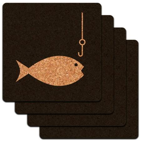 Fish Fishing Fisherman Low Profile Cork Coaster