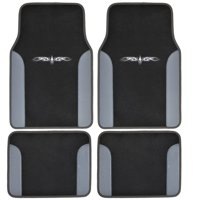 12 Pieces Flat Cloth Sleek Design Black and Grey Front and Rear Car Seat Covers Set with 4 Vinyl Trim Black and Grey Color Carpet Floor Mats Complete Set - Shipping Included