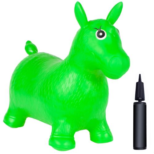 Kids Green Horse Hopper, Inflatable Jumping Horse Ride-on Bouncy Pump Included