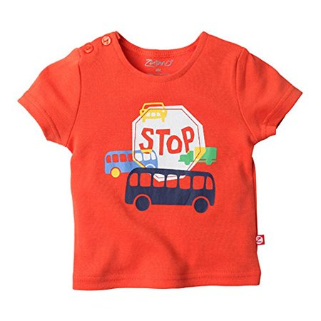 Zutano Short Sleeve Wrap (Zutano Short Sleeve Tee- Stop, 6 Months)