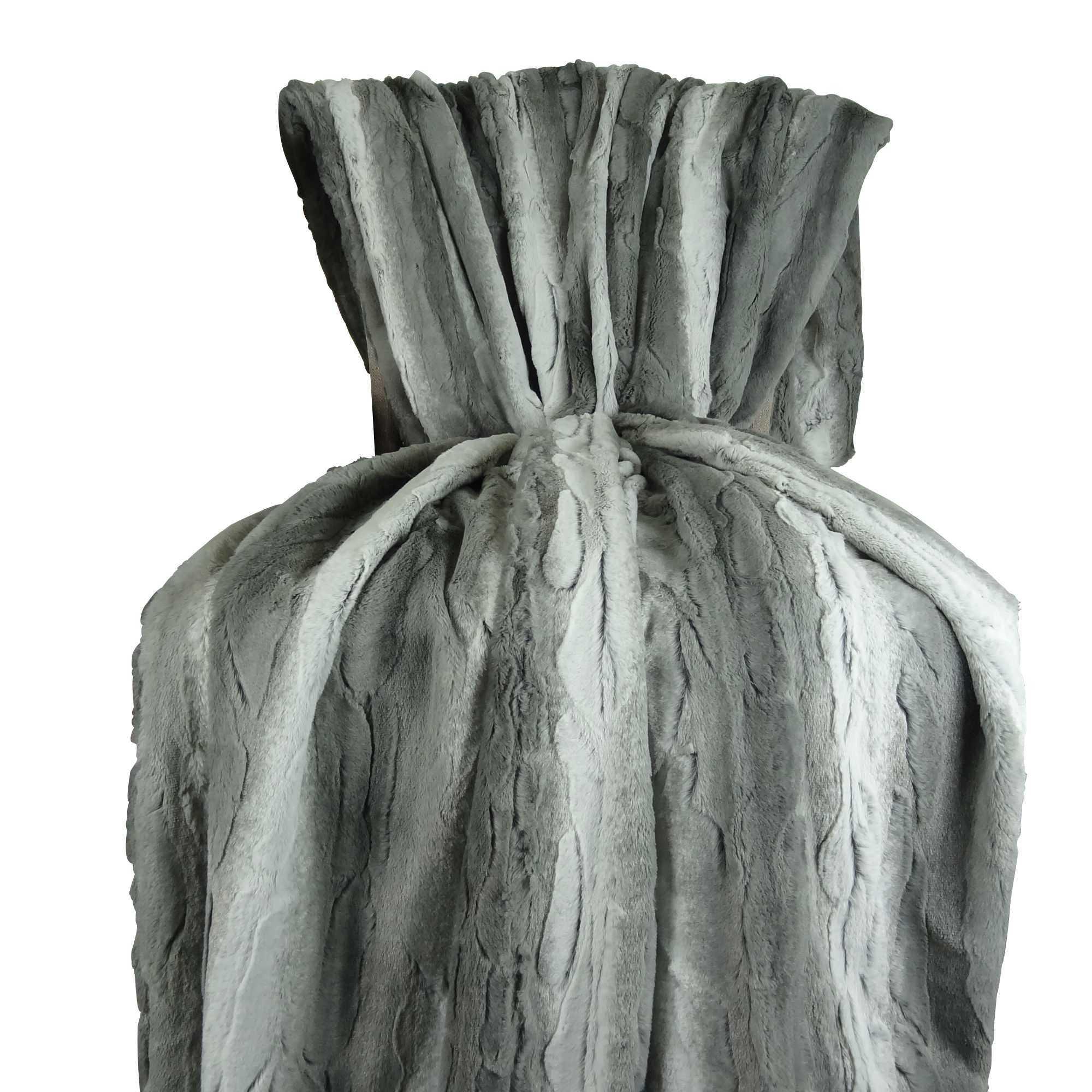 Plutus Cuddle Angora Platinum Handmade Throw / Blanket