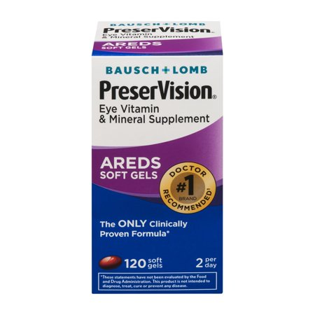 Bausch & Lomb PreserVision Eye Vitamin & Mineral Supplement, 120 Ct Soft