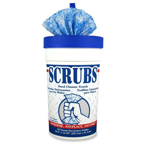 Scrubs Hand Cleaner Towel - Citrus Scent - 30 / Tub - Blue, White (ITW42230)