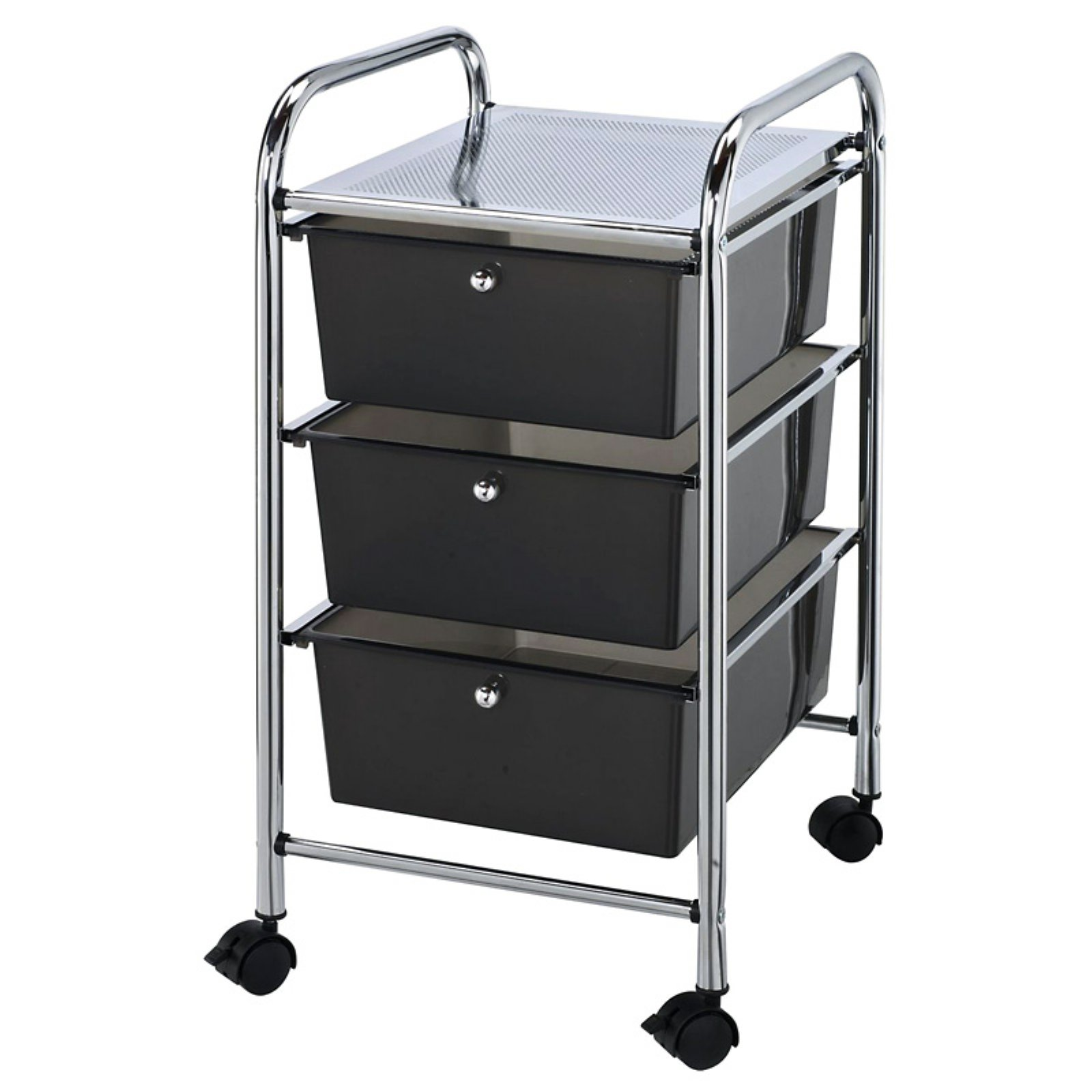 "Blue Hills Studio Storage Cart with 3 Drawers 13""x26""x15.5"", Smoke"