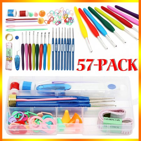 57 Pcs Crochet Hooks Tools Knitting Needles Stitches Knit Weave Craft Yarn Set Sewing Accessories Portable 16