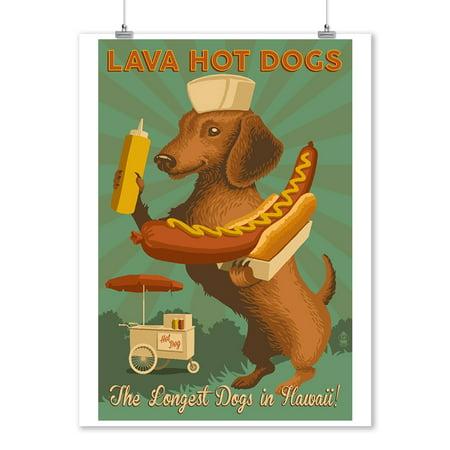 Hawaii - Lava Hot Dogs - Dachshund - Retro Hotdog Ad - Lantern Press Artwork (9x12 Art Print, Wall Decor Travel (Air Jordan Retro 7 Gs Hot Lava)