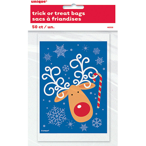 Plastic Reindeer Holiday Favor Bags, 50-Count