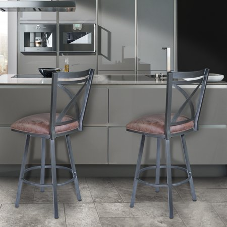Fine Nova 26 Counter Height Swivel Metal Barstool In Mineral Finish With Bandero Tobacco Onthecornerstone Fun Painted Chair Ideas Images Onthecornerstoneorg