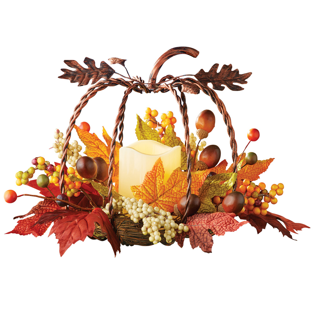 Rustic Metal Pumpkin & Candle Fall Autumn Floral Centerpiece Thanksgiving Table Decoration