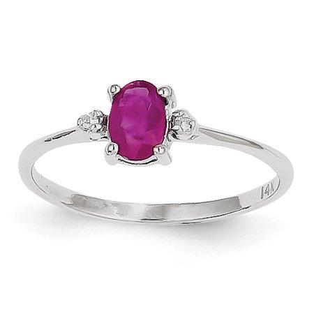 14K White Gold Diamond & Ruby Birthstone Ring - image 2 de 2