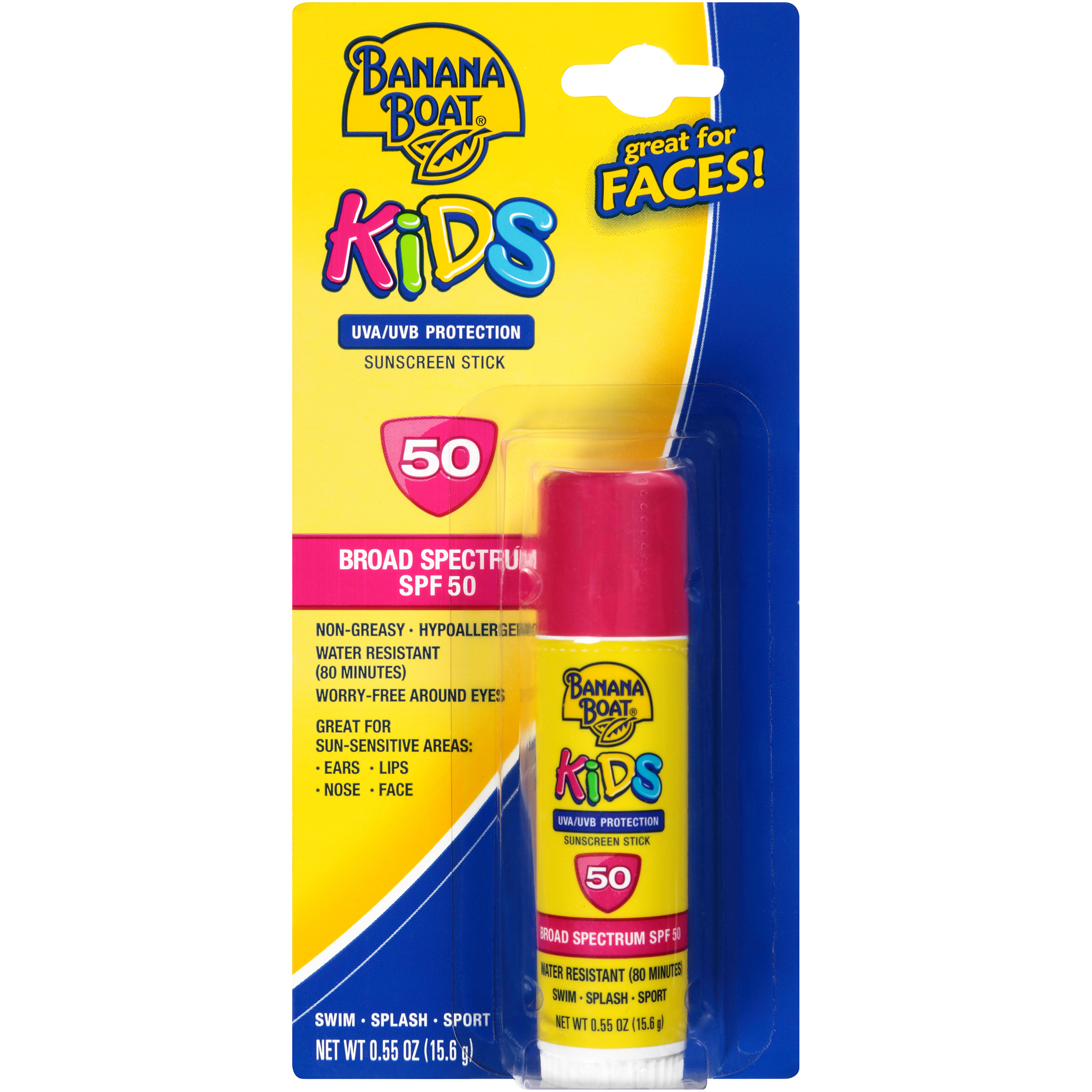 Banana Boat Kids Faces Sunscreen Stick Broad Spectrum SPF 50 - 0.55 Ounces